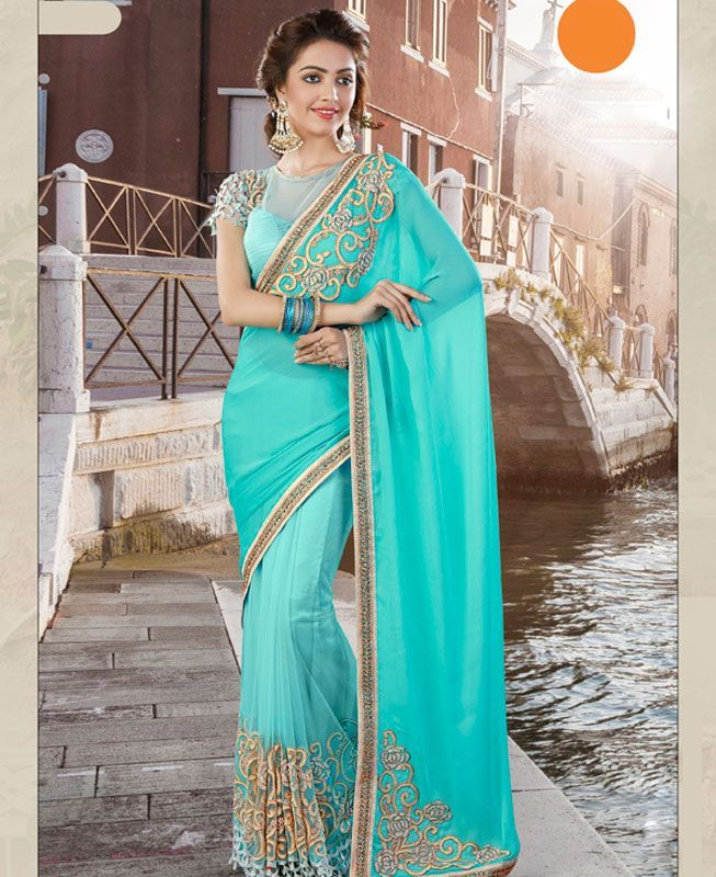 #hey @a1designerwear . Item code: ADF80078 . Buy Graceful Turquoise Georgette #Saree #onlineshopping with #worldwideshipping at  https://www.a1designerwear.com/graceful-turquoise-georgette-sarees-2   . #a1designerwear #a1designerwear . #instashop #worldwide #thankyou
