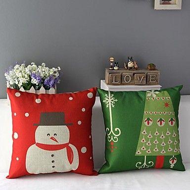Set+med+2+God+Jul+snögubbe+och+julgran+Tryckt+Dekorativa+örngott+–+SEK+Kr.+238