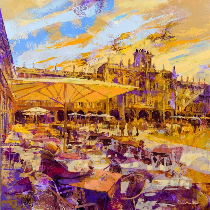 Plaza Mayor de Salamanca. Óleo y acrílico sobre tabla. 80x80 cm. Alfonso Cuñado