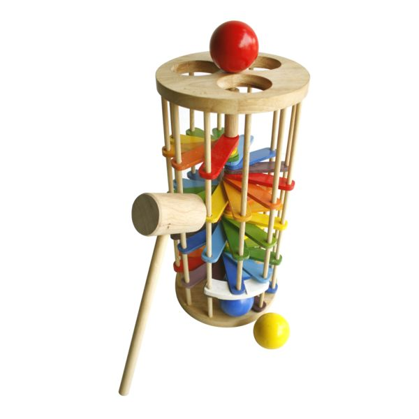 Little ones love, love, love whacking things. Let them loose on this colourful wooden toy and watch them enjoy following the balls as they roll down the rainbow
