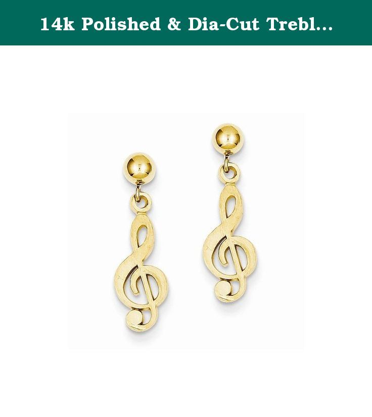 14k Polished & Dia-Cut Treble Clef Dangle Post Earrings. This adds a sense of charm to your favorite collection.14k Polished & Diamond-Cut Treble Clef Dangle Post Earrings. Model No.: S1137. 14k Yellow Gold. Product Type: Jewelry. Jewelry Type: Earrings. Material: Primary: Gold. Material: Primary - Color: Yellow. Material: Primary - Purity: 14K. Length: 22 mm. Width: 6 mm. Sold By Unit: Pair. Got questions about this item? If you wish to know any additional info or have any additional...