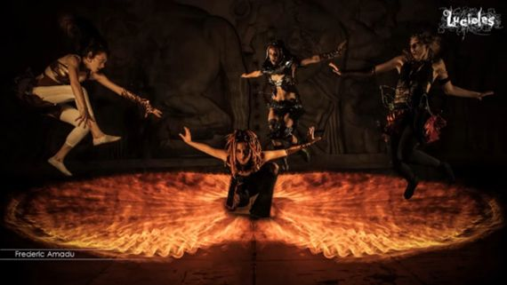 Watch Photographers Create a Composite with Light Painted Ground Fire