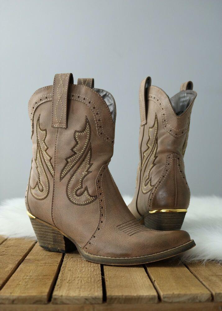 497db997bef Very Volatile Womens 8 Boot Markie Cowgirl Stone Tan Brown Western ...