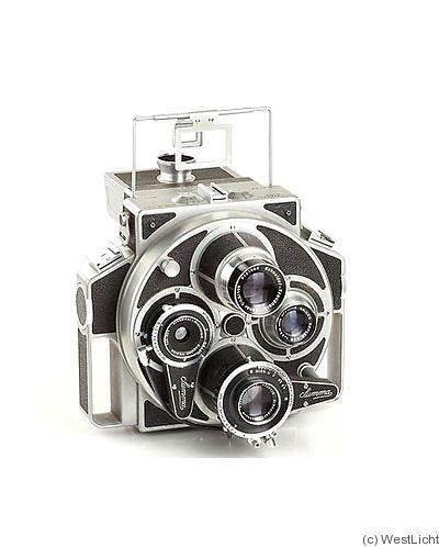 Tiranti: Summa Report camera c1955. 6x9cm exposures on rollfilm, four-lens camera. About 150 cameras were manufactured.