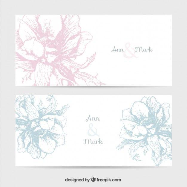 レトロな花と結婚式の招待状 無料ベクター