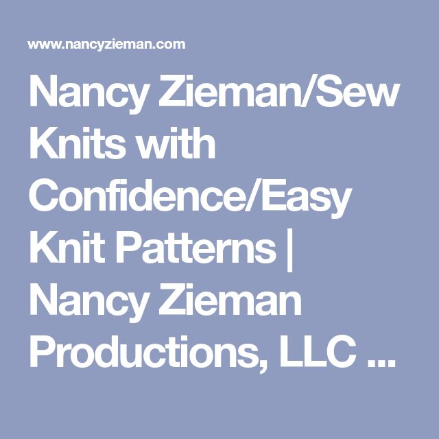 Nancy Zieman/Sew Knits with Confidence/Easy Knit Patterns | Nancy Zieman Productions, LLC Blog