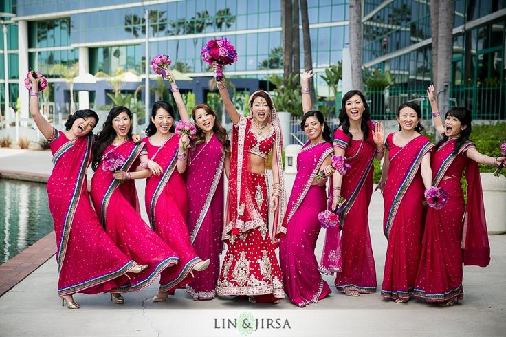 bridesmaids in fuschia | courtesy Lin and Jirsa Photography | for more inspiration visit www.shaadibelles.com
