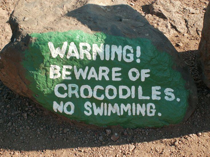 Crocodile Sign, Zambezi River, Zambia, Africa