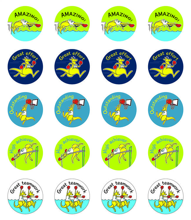 Boxing Kangaroo Stickers. Pack contains 10 identical sheets of 20 stickers (total of 200 stickers). Read More →