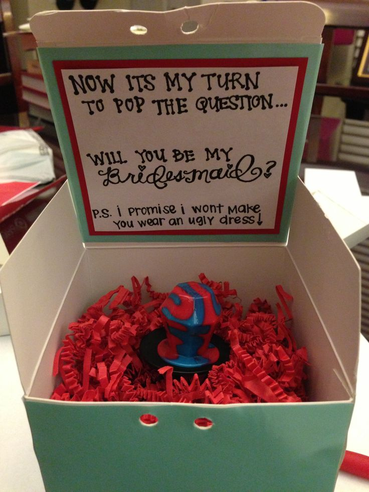 Cute way to ask girls to be brodesmaids @Jenna Nelson Nelson Heier remember this when Jon and you get married! :)