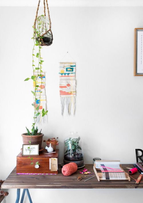 : Plants Crafts, Studios Spaces, Hanging Plants, Work Spaces, Workspaces, Wall Tapestries, Design File, Hanging Planters, Woven Wall Hanging