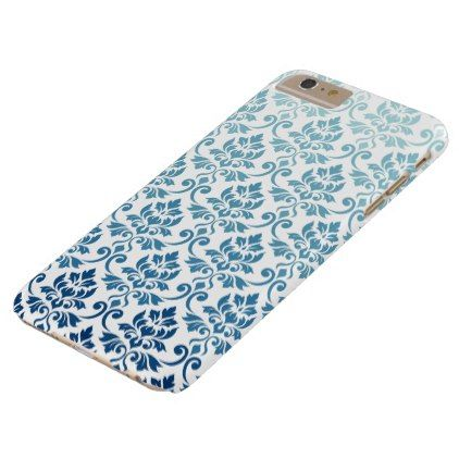 Feuille Damask Pattern Gradient Dk Blue-Teal on Wt Barely There iPhone 6 Plus Case - create your own personalize