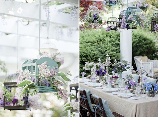 Reception decoration or card cage for a lavender wedding! #wedding