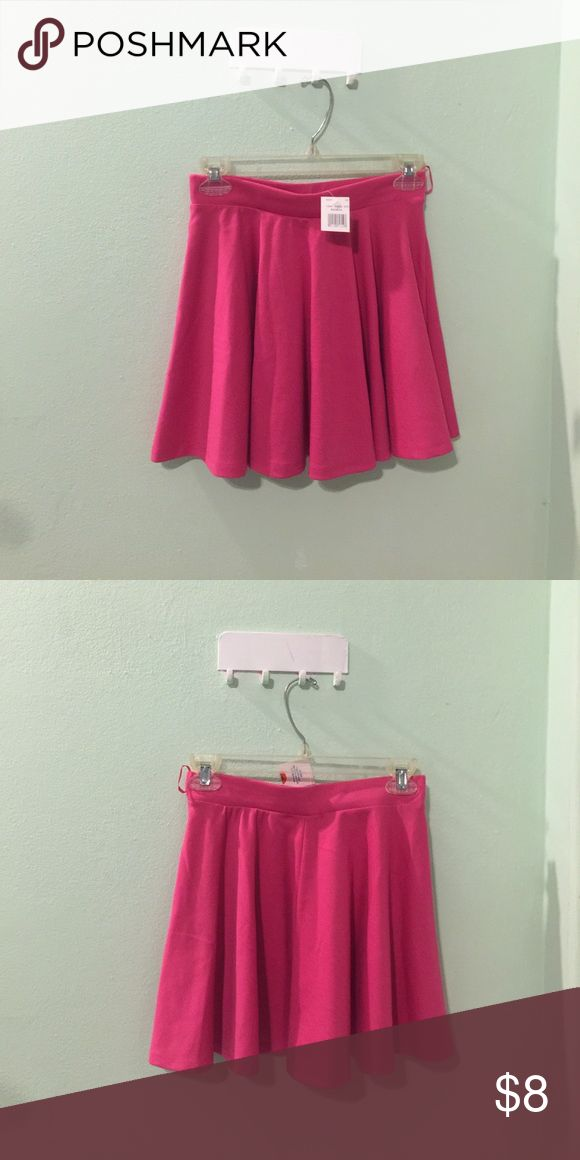 Hot pink skater skirt Brand new with tag. Never worn. Hot pink skater skirt. Size M. Ambiance apparel. 76% Polyester, 19% Rayon, 5% Spandex. Ambiance Apparel Skirts Circle & Skater