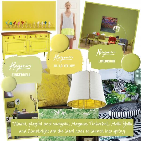 Spring time colours - Images from left to right: stick figures - Haymes, silk white & yellow top - IXIAH, dining room - Haymes, lounge room - Designers Guild, pillow - Sixhands, light fitting - DOMO Australia, leaf wallpaper - Cole & Son, palms wallpaper and couch - Christian Lacroix.