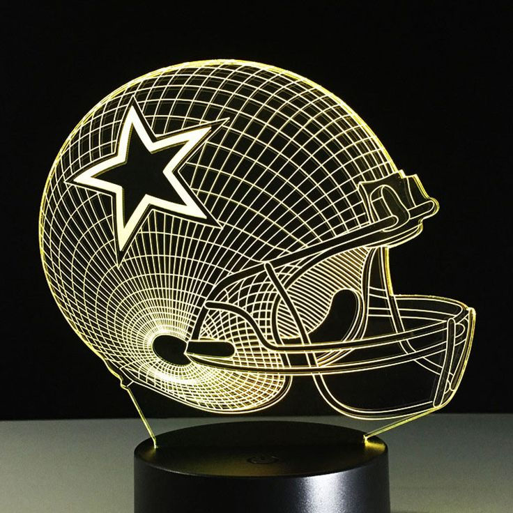 3D Illusion Lamp Dallas NFL Football Team Logo Cowboys Night light