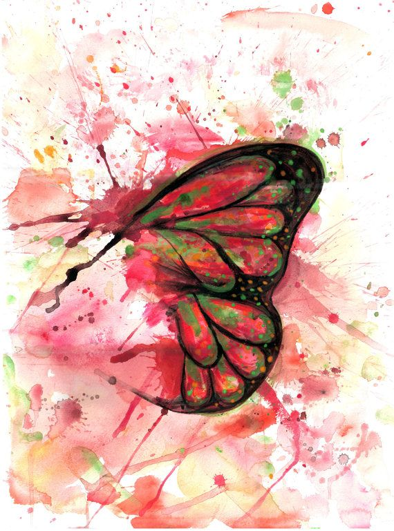 Butterfly Print Of Original Watercolor Painting By Tlnart