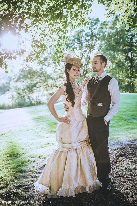 Steampunk Wedding Dress- Victorian Beauty Off the Shoulder Gown- Corset Top and Bustle Skirt- Custom to Order