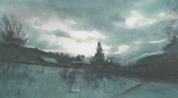 Polish landscape watercolor pastel by Abakua on Etsy