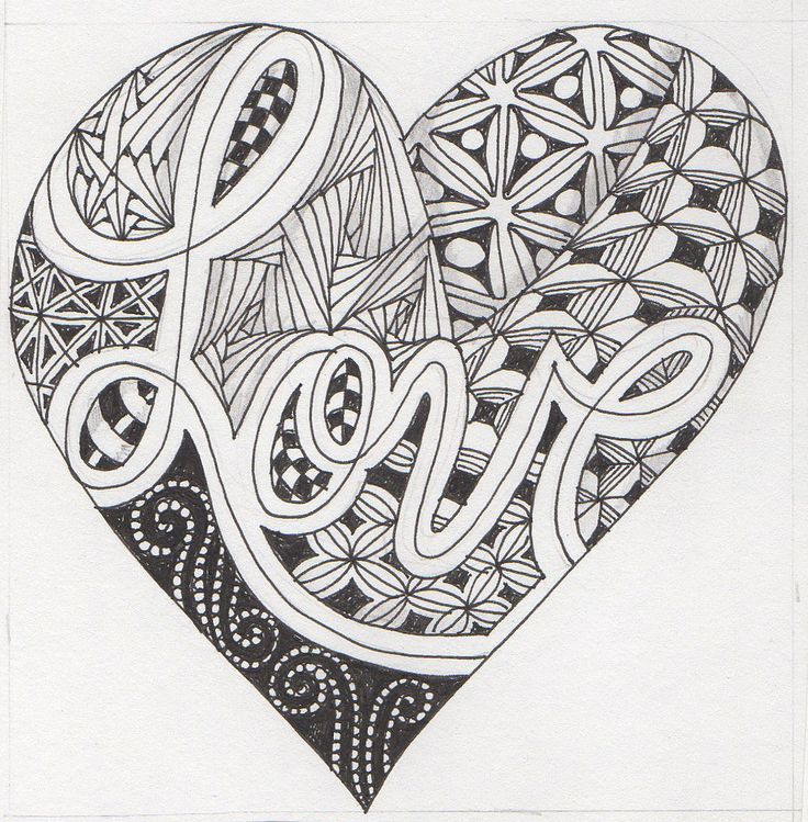 heart zentangle coloring pages - photo#9