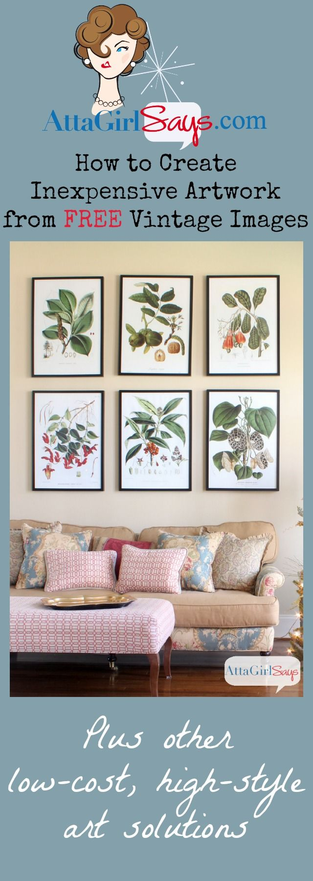 Creatve Inexpensive Artwork with Vintage Botanical Prints