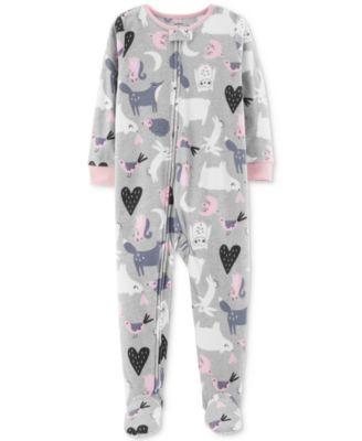 8eec33b93f07 Baby Girls Animal Footed Fleece Pajamas