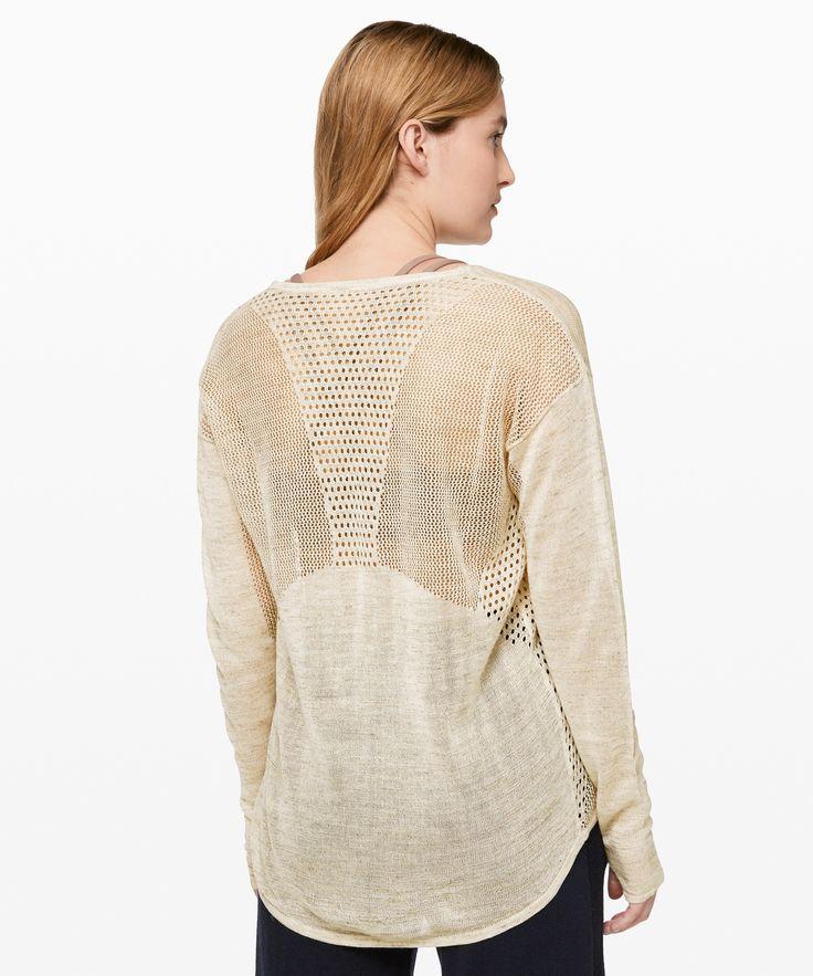 lululemon Women's Still Movement Sweater Linen, Heathered Muslin, Size 12 3
