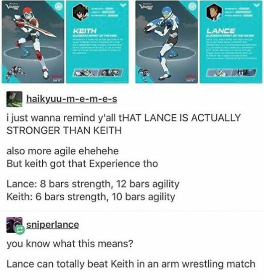 according to the current info on the website:  -keith •strength: 13 •agility: 19 •intelligence: 14  -lance •strength: 13 •agility: 15 •intelligence: 12  so basically keith is better at everything ://