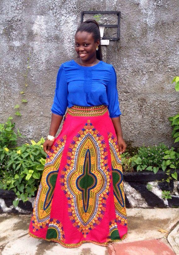 Pink African Dashiki Maxi Skirt African by MsAlabaAfricanShop