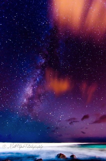 The Milky Way over Poipu Beach in Kauai, Hawaii