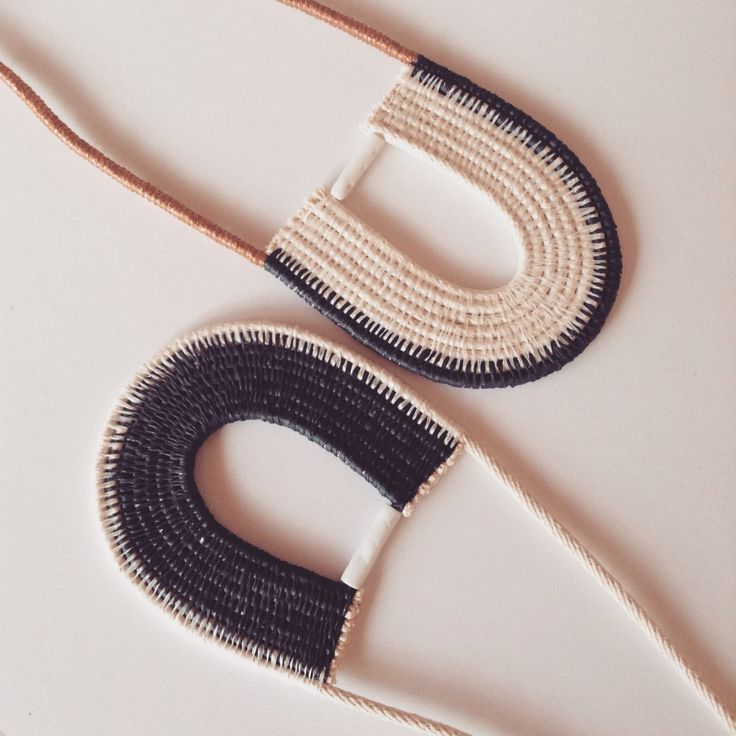 #monochrome woven rope necklaces by Ouch Flower
