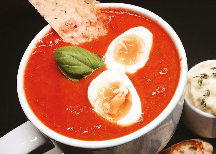 Ravenous Fox's roast red pepper and tomato soup with quail's egg, aïoli, toasted ciabatta & parmesan crisp. Follow link for full recipe from Appetite Magazine, North East England's dedicated food & drink publication.