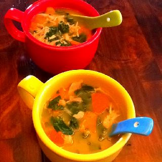Easy and super nutritious Chicken Kale Soup. (5 ingredients: chicken, carrots, kale, salt, pepper)  I make this soup every time we have rotisserie chicken. As soon as we finish our chicken dinner I place all the chicken remains in my small soup pot and cover with water. Simmer for a couple if hours to extract all the flavor and cause chicken to fall apart. Strain the soup, reserving both broth and solids. Allow the chicken to cool before separating the meat. Discard all bone, skin and…