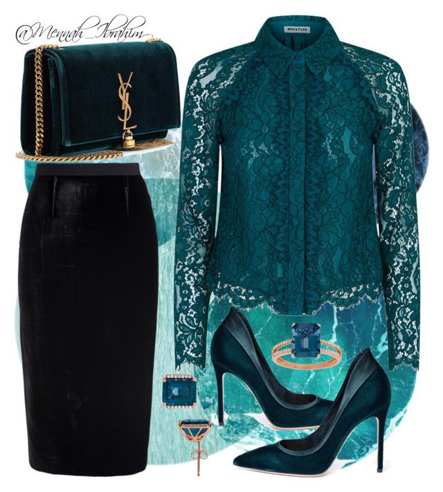 """""""#Formal #Lace #Velvet #Teal"""" by mennah-ibrahim on Polyvore featuring Whistles, Yves Saint Laurent, Roland Mouret, Gianvito Rossi and Lord & Taylor"""
