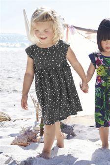 Anthrazitfarbenes gepunktetes Kleid (3 Monate – 6 Jahre)