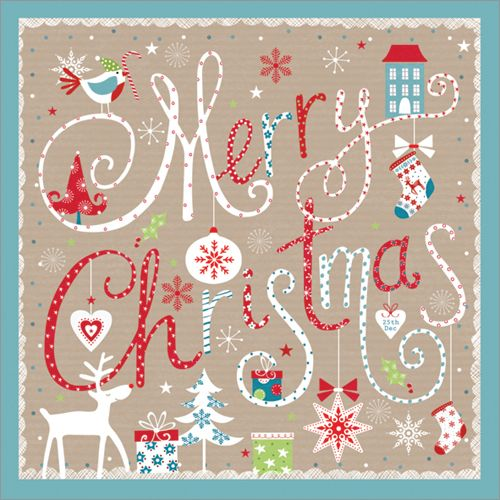 Wish your friends and family a beautifully designed 'Merry Christmas' with this matt textured, embossed card