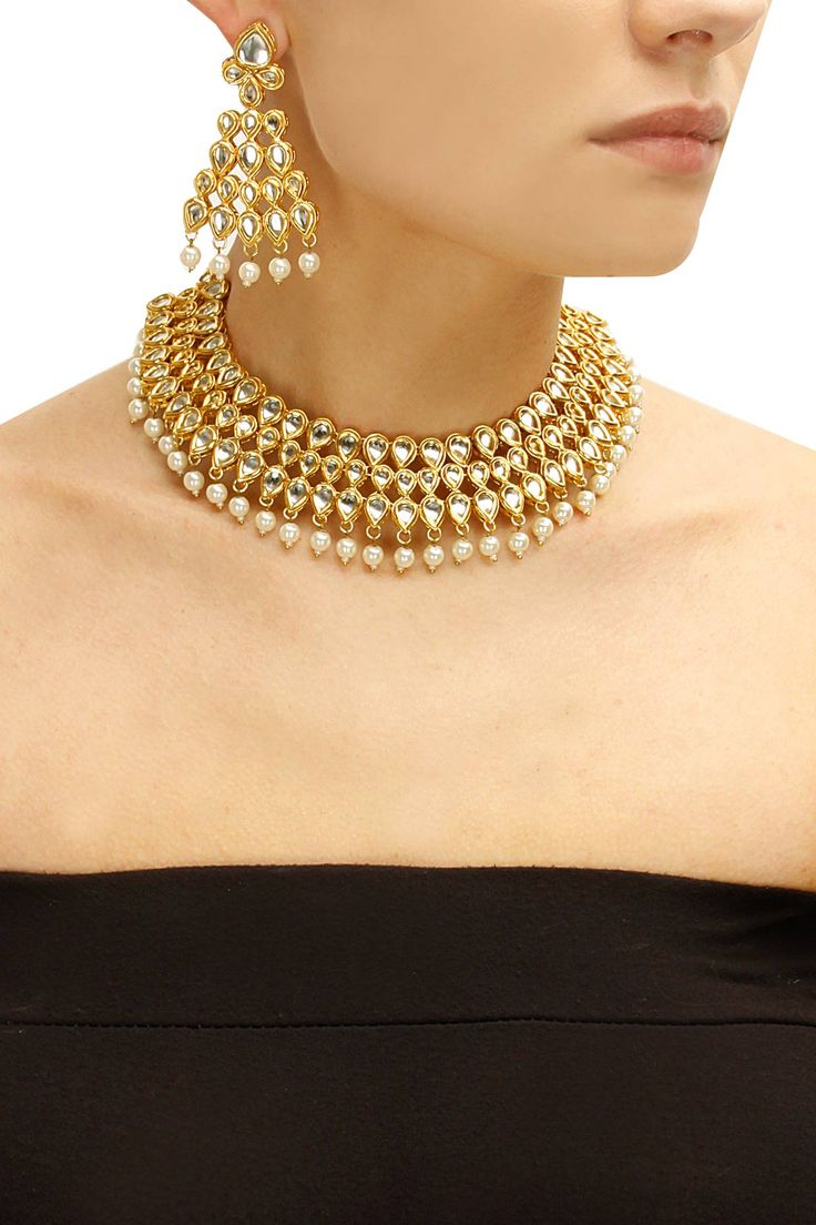 Gold plated kundan stone and pearl necklace set available only at Pernia's Pop-Up Shop.