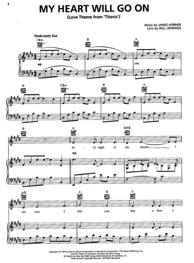 how to play my heart will go on piano : 87 TITANIC MY HEART WILL GO ON 11PG PIANO SHEET MUSIC ...