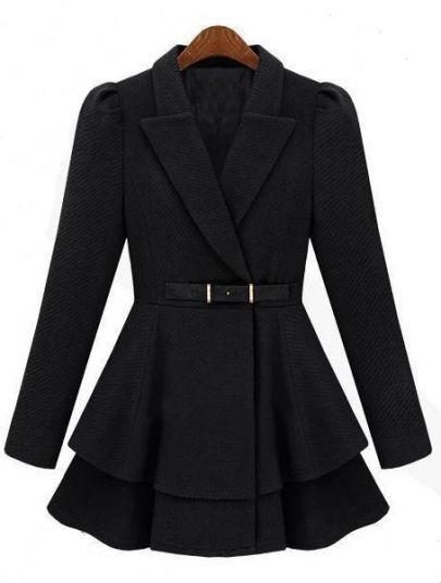 Black Lapel Puff Sleeve Drawstring Waist Tweed