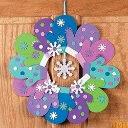 Christmas Winter Mitten Glove Wreath Craft Kit for Kids | eBay