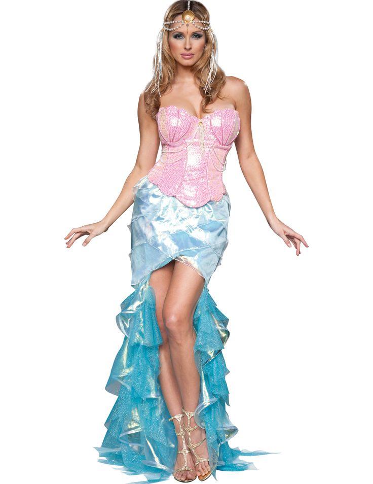 Disfraz Sirena para mujer -Premium: Este disfraz de sirena incluye corsé, falda y diadema.El corsé es rosa con lentejuelas brillantes. Las ballenas ajustan el corsé. Hay un sujetador interior con forma de conchas y...