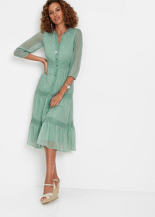 Sukienka Midi Szmizjerka Z Polyskiem Zielony Pastelowy 189 99 Zl Bonprix In 2021 Dresses Fashion Style