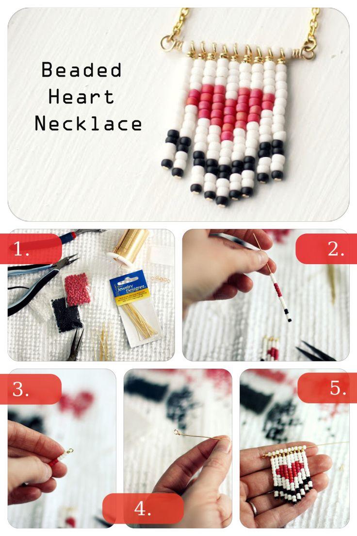 DIY Beaded Heart Necklace diy crafts craft ideas easy crafts diy ideas crafty easy diy diy jewelry craft necklace diy necklace jewelry diy