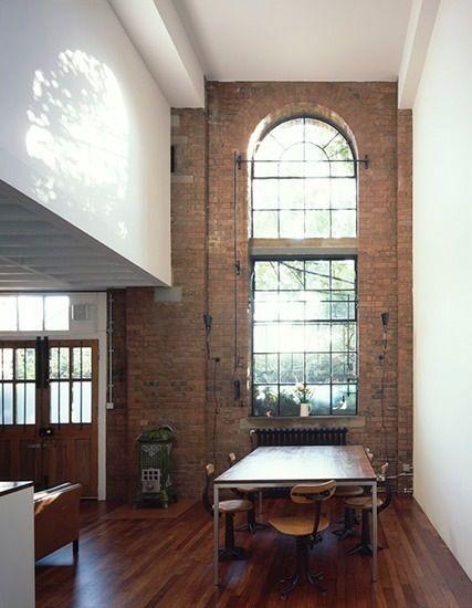 windows and exposed brick