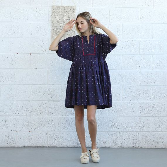 Oversized Mini Dress Loose Fit Dress Raglan Sleeves by Naftul