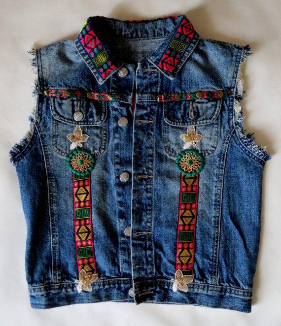 Sleeveless handpainted vintage jeans jacket by BeatricePoggioArt
