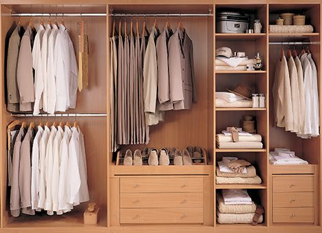Popular internal layout for wardrobes - hanging and shelving