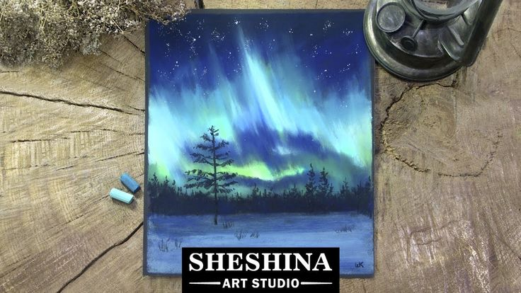 How to draw the Northern lights (Aurora borealis) with soft pastels  Sheshina Ekaterina