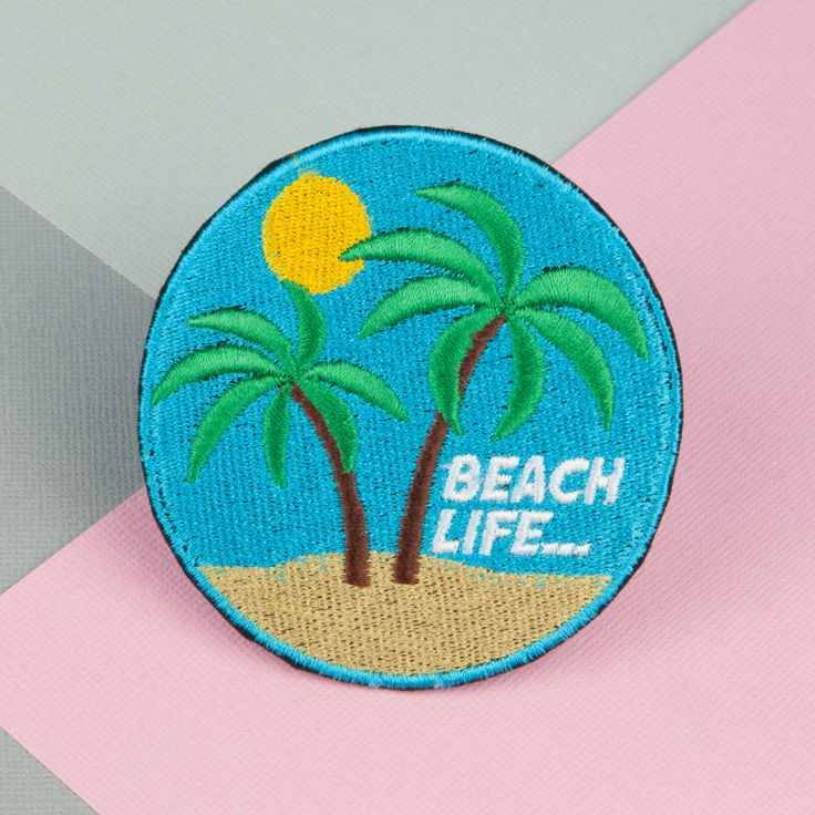 Beach life iron on patch (£7.50) found on HattyHats.com featuring embroidery / logos / mens / womens / unisex / fashion / style / tumblr / badges / jacket / backpack / DIY / jeans / denim / beach iron on / iron on patch / beach please / beach please patch / sunset patch / vacation iron on / embroidered gift / mokuyobi / mokuyobi threads / ocean patch / mermaid patch / beach gifts and much more. Made in the UK.