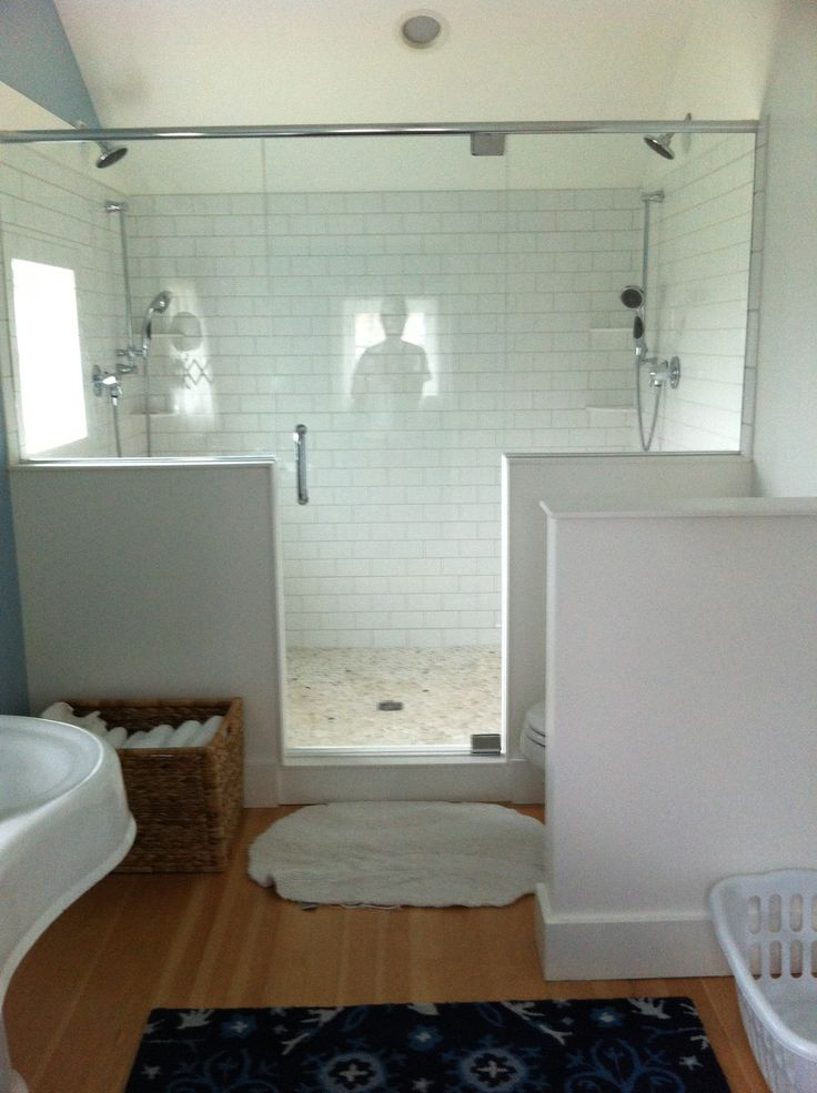 Master Bath Double Shower Subway Tile The Crooked